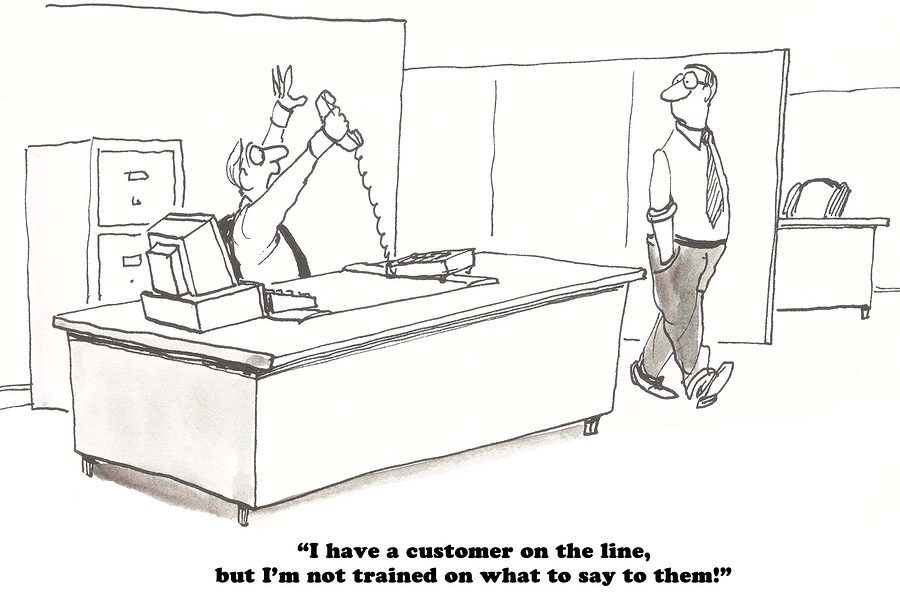 Cartoon about a salesman who could use training on Selling Using DISC Profiles