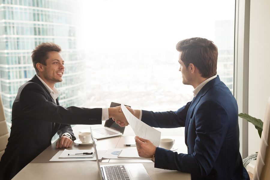 Successful sales ends with handshake