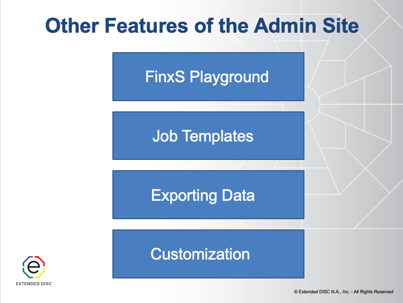 FinxS Admin Site Additional Features Slide